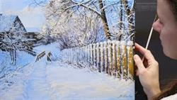 Acrylic + Oil. How To Paint A Winter Landscape | Живопись Акрил +Масло