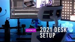 Work From Home - 2021 Video Editing + Podcast Desk Setup